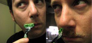 Shaving under nose
