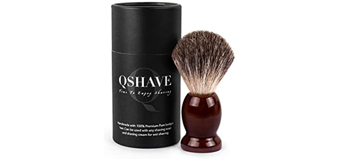 QSHAVE Badger Hair - Real Wood Brush