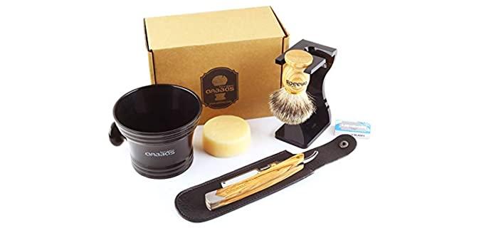 Anbbas 7 in 1 - Wood Handle Straight Razor Kit