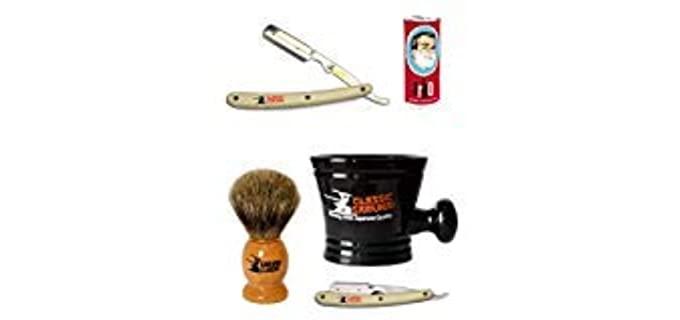 Classic Samurai Straight Razor - Stainless Steel Shaving Kit