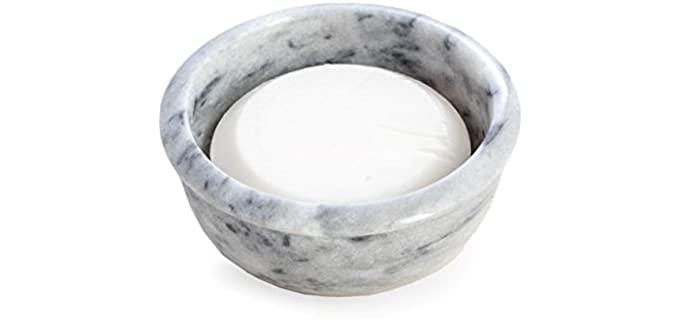 Bey--Berk International White - Zebra Real Marble Shaving Bowl