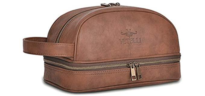 Vetelli Compartmental -  Large Leather Shaving Kit