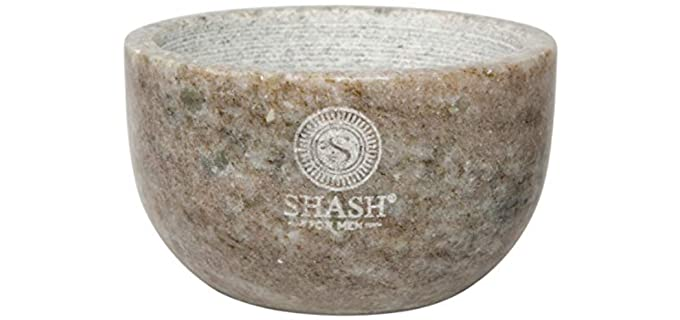 SHASH Zebra - Grey Marble Shaving Bowl
