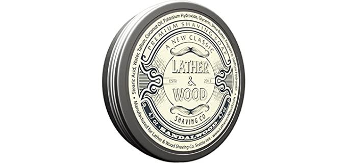 Lather and Wood Shaving Sandalwood - Shaving Cream for Dry Skin